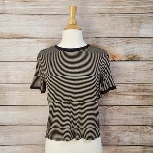 Forever 21 Black & Tan Striped Crew Neck Tee